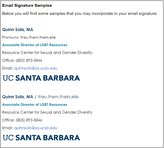 Example Email Signatures